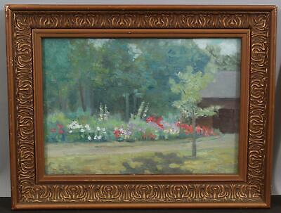 1906 Antique American Impressionist Wisconsin Garden Landscape Oil Painting NR Impressionistic Oil Painting