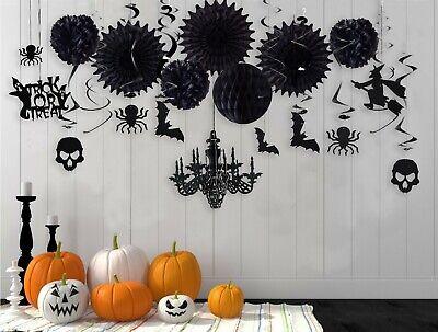 Halloween Party Glitter Black Spooky Skull Paper Chandelier Party Home Dec