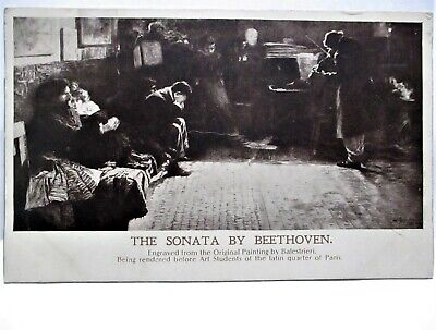 1905 POSTCARD THE SONATA BY BEETHOVEN BY BALESTRIERI