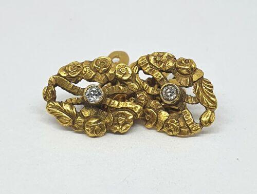 Antique 18kt Gold Art Nouveau Oval Cufflinks with 0.15´ct Diamonds