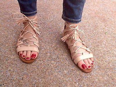 d0b178acdf9 ZARA Nude Leather Tie Up Roman Sandal Flat Shoes with Tassel 4 37 BNWT
