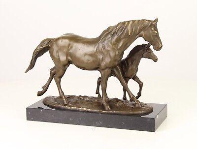 """BRONZE LARGE & HEAVY SCULPTURE HORSE WITH COLT 8 Kg 9.40"""""""