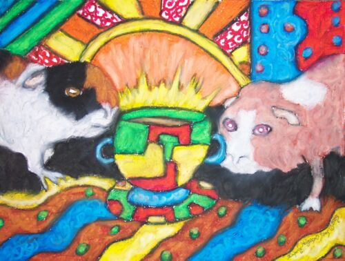 GUINEA PIG Drinking Coffee 5 x 7 Cavy Art Giclee Print Signed by Artist KSams
