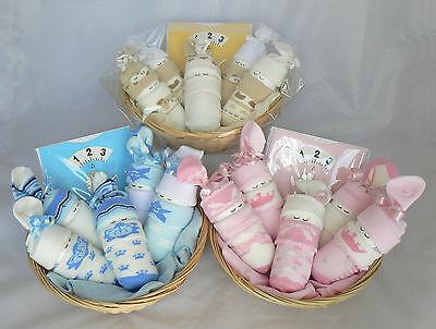 boy/girl/unisex/twins sleeping sock babies gift. nappy cake baby