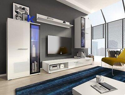 Living room furniture set high gloss TV display glass cabinet floating shelf