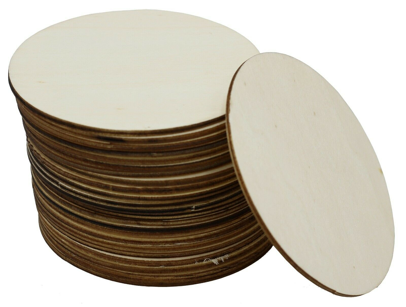 24-Pack Unfinished 4 Inch Wood Circle Cutouts for Crafts, Wooden Coasters, DIY Crafting Pieces