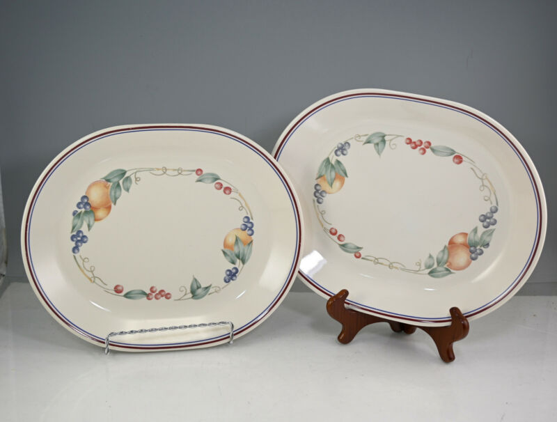 "Corelle Coordinates Abundance 12"" Oval Meat/Serving Trays Set Of 2"