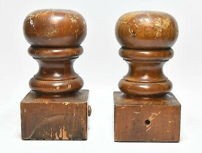 Carved Ornament for Home Set of 2 Vintage Wood Newel Post Finial End Architectural Salvage Wood Finial for Bed,Staircase Finial