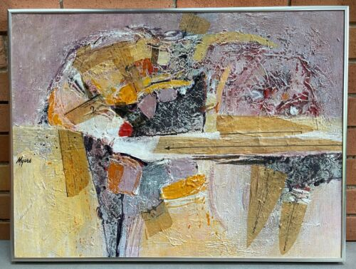 Vintage Abstract Mixed Media Painting Wall Hanging Art Signed Carole Myers