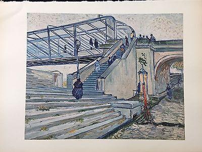 "1950 Vintage Full Color Art Plate ""BRIDGE AT TRINQUETAILLE"" VAN GOGH Lithograph"