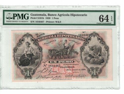 GUATEMALA 1 Peso 1920 Pick# S101b PMG: 64 EPQ Choice UNC. (#1830)