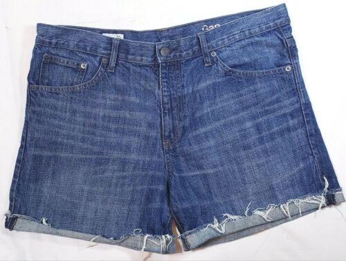 Gap 1969 Jean Shorts Boyfriend Size 3 Blue Cotton Mid Rise Zip Pockets Faded