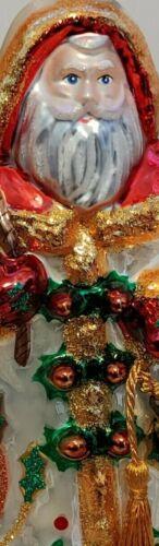 Hallmark 2019 Heritage Blown Glass Santa with Bells Gold Box