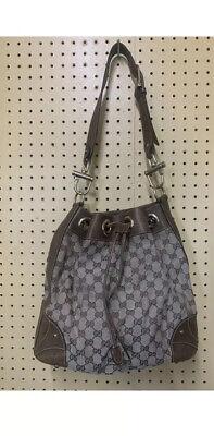 Authentic GUCCI Stirrup Large Shoulder Bag Brown Canvas/Leather-Excellent Con'd