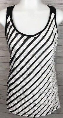 Black And White Confetti (Charlotte Russe Black and White Neon Confetti Striped Halter Tank Top Size)