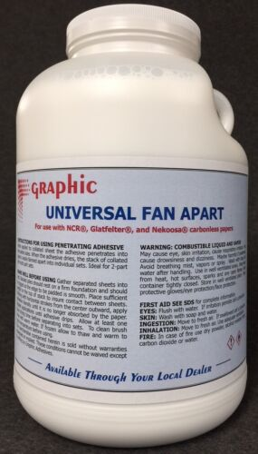 FAN APART PADDING COMPOUND ADHESIVE GLUE FOR CARBONLESS PAPERS NEW 1 GALLON