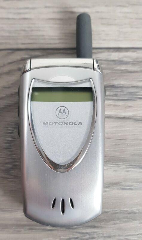 Vintage Motorola V60i Flip Cell Mobile Phone with Battery, Silver Color Untested