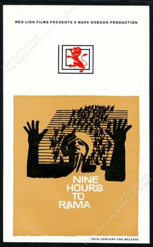 1962 Saul Bass art Nine Hours to Rama movie scarce vintage trade print ad