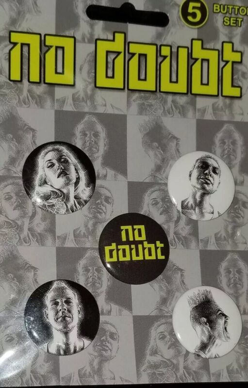 NO DOUBT Gwen Stefani Set of 5 Buttons / Pins officially licensed band gear