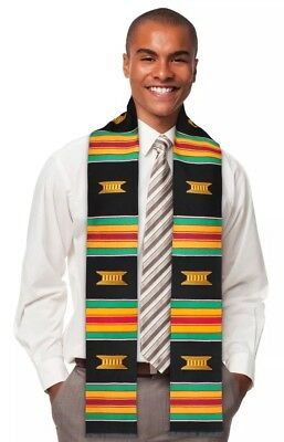 Black Kente Cloth Stole for Graduation, Choir and Clergy Sash Kinte - Stole For Graduation