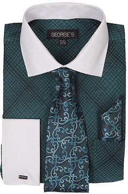 New Mini Plaid/Check Design Dress Shirt French Cuff White Collar Turquoise Green