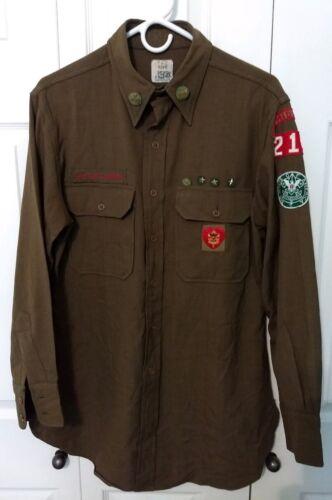 Utah Estate 1940s Boy Scout BSA Leaders Uniform Shirt w/ Patches & Sterling Pins