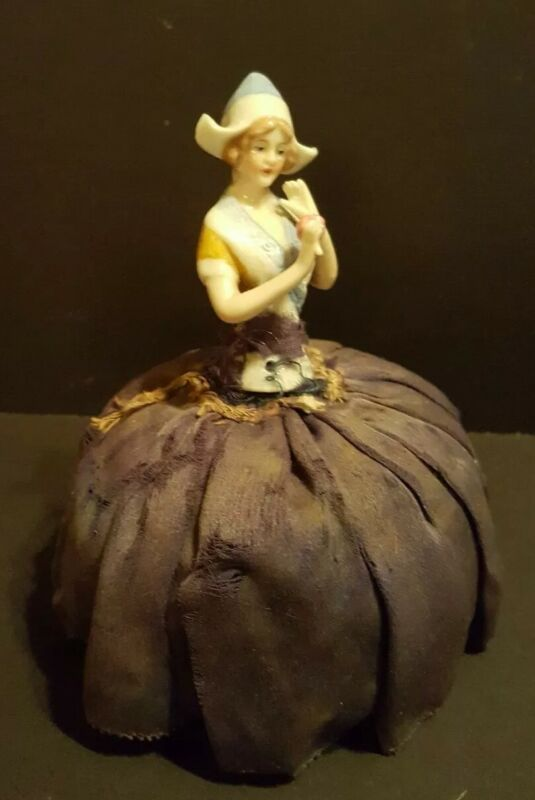 Antique China Half Doll Pin Cushion Dutch Girl Hat Rose Arms Away Rose in Hand