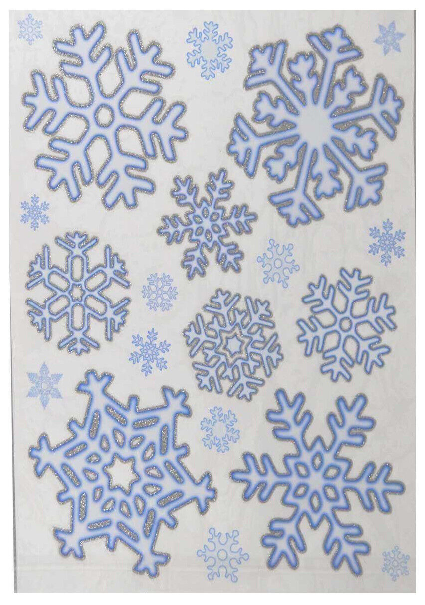 Home Decoration - 20 Xmas Christmas Window Decorations Stickers Snowflake With Glitter Home Decor