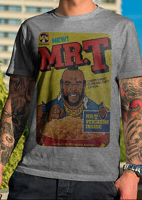 Mr  T  Cereal Box  T Shirt Graphic Tee Distressed 80S
