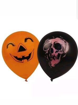 HALLOWEEN PARTY BALLOONS BLACK ORANGE 24PK PUMPKIN SKULL DECORATION FREE UK P&P](Halloween Balloons Uk)
