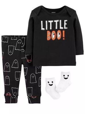 Halloween 3 Pc Outfit Bodysuit Pants Socks LITTLE BOO! Ghost (Carters Baby Halloween)