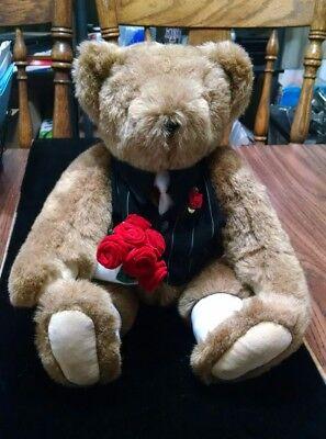"Teddy Bear Love, Arm of Roses Vermont Company( Brown Bear 16"" tall )"