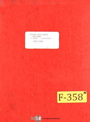 Fellows 4gs Gear Shaper Parts Lists Manual Year 1964