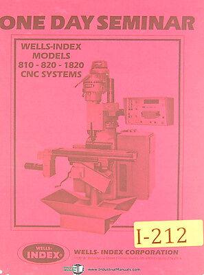 Wells Index 810 820 1820 Cnc Sytems Seminar Manual Year 1982