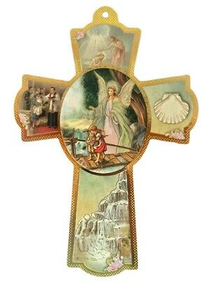 Guardian Angel Wooden Wall Cross Gift Favors Recuerdos Baptism Christening 8""