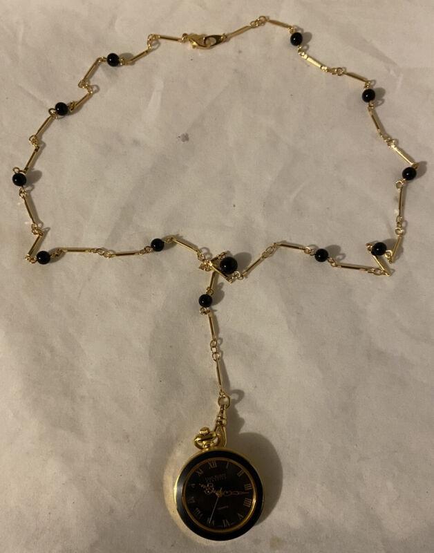 Vintage Joan Rivers Classics Quartz Watch Necklace Black Gold Tone Pendant