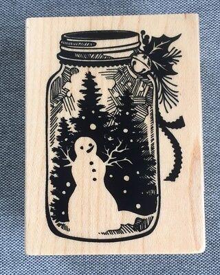 Christmas Mason Jar Snow globe Rubber Stamp, New, 2.25