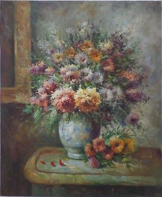 Floral Oil on Canvas Painting, Flowers in Vase, Signed W. Adam