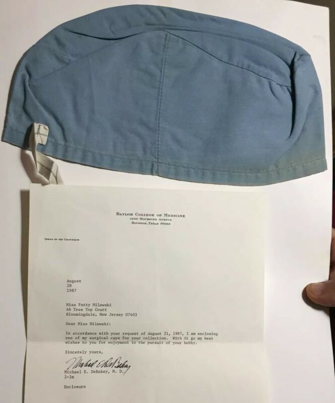 MICHAEL DEBAKEY OWNED AND WORN SURGICAL CAP W/ SIGNED LETTER W/COA HEART DOCTOR