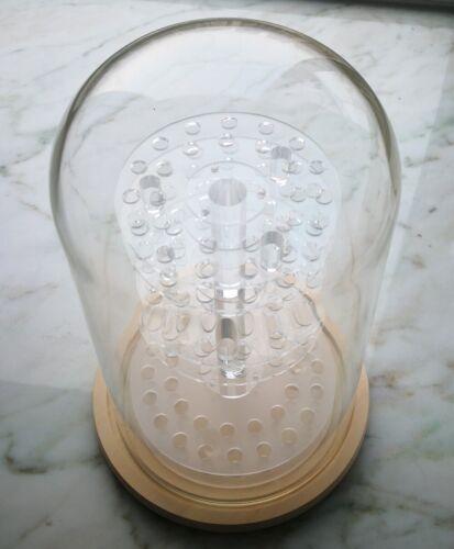 Glass Dome Display Case Acrylic 3 Shelves Wood Base Ball Marble Thimbles Decor