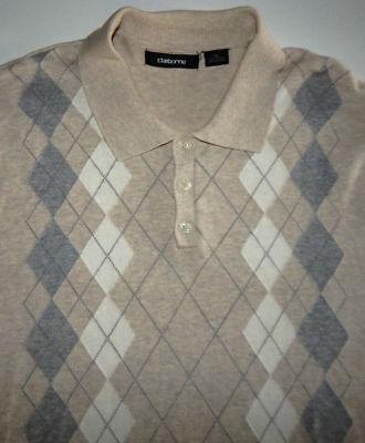 Claiborne~ Tan Argyle ~ Short Sleeve ~ 100% Cotton ~ Golf ~ Polo Shirt ~ Size XL