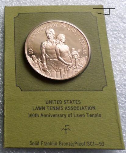 U.S.L.T.A. Lawn Tennis Players Centennial 1972 Beautiful Proof Bronze Coin Medal