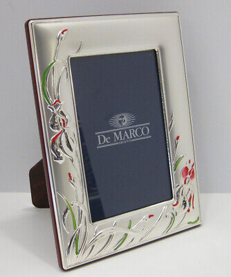 4x6 Matte Silver Frame (ITALIAN SILVER LAMINATE MATTE RED & GREEN FLORAL 4 X 6 PHOTO PICTURE FRAME )