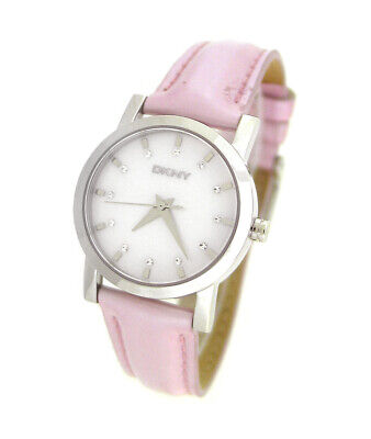 DKNY Leather Collection Silver Mother-of-pearl Dial Women
