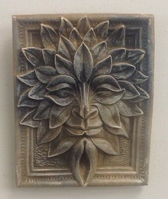 Antique Finish Green Man Forest God Season Leaf Face Mask Wall Sculpture