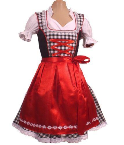 Girls,Kids,US sz 4,Germany,German,Trachten,May,Oktoberfest,Dirndl Dress,3-pc.Red