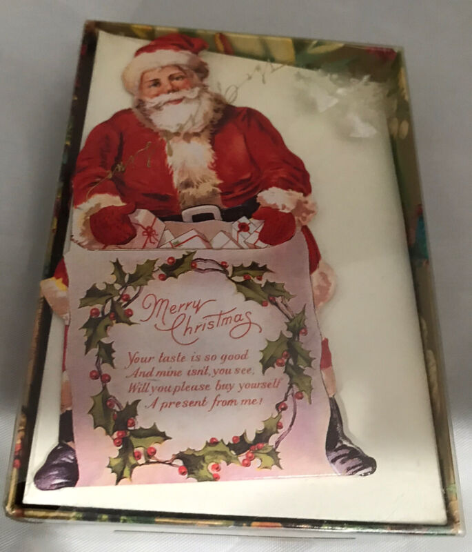 The Gifted Line Box of 12 Die Cut Christmas Cards Old Fashioned SANTA Money card