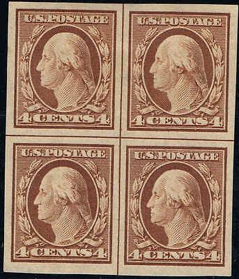 #346 CENTERLINE BLOCK 1909 4c IMPERF ISSUE MINT-OG/H--VF