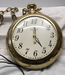 Vintage United Clock Corp. 8 Pocket Watch Wall Clock with Chain Brooklyn NY 370