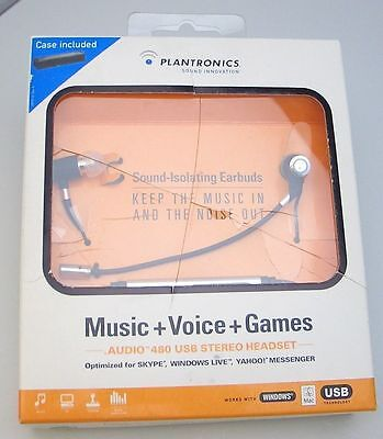 Plantronics  Audio 480 Usb Black In Ear Only Headset For Skype   Yahoo Messenger